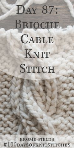 Day 87 : Learn how to knit the brioche cable knit stitch. Written instructions and step-by-step video tutorial. Cable Knitting Patterns, Knitting Stiches, Knitting Videos, Knitting For Beginners, Hand Knitting, Knit Stitches, Knitting Basics, Knitting Tutorials, Double Knitting
