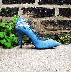 "Vintage Blue 80s Pumps - Denim & Silver 4"" Art Deco Heels"