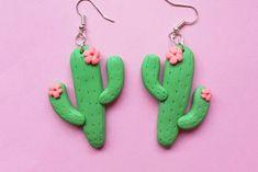 Extra large Cacti dangle earrings handmade with polymer clay Extra large cactus earrings, handmade from polymer clay Diy Clay Earrings, Cactus Earrings, Earrings Handmade, Handmade Jewelry, Dangle Earrings, Polymer Clay Charms, Polymer Clay Projects, Clay Crafts, Polymer Clay Jewelry