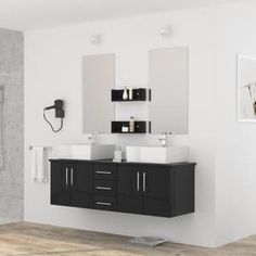 DIVA Ensemble salle de bain double vasque L 150 cm - Laqué noir brillant