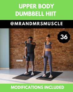 Upper Body Dumbbell HIIT – Body Workouts For Cutting Body Fat – The Best Exercises for a Full-Body Workout Fitness Workouts, Upper Body Hiit Workouts, Hiit Workout Routine, Hiit Workout Videos, Full Body Hiit Workout, Upper Body Exercises, Upper Body Dumbbell Workout, Arm Fat Exercises, Dumbbell Exercises