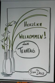 Sandra Dirks - Flaschen und Blumen - Flipcharts zeichnen mit Sandra Dirks Flipcharts, Doodle Lettering, Hand Lettering, Drawing Projects, Work Inspiration, Pen And Paper, Sketch Notes, Creative Business, Coaching