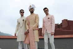 JadeBlue Style Inspirations for a Groom and his Groomsmen. Grooms no longer take second place when it comes to fashion. Groomsmen Outfits, Groom And Groomsmen, Achkan, Wedding Sherwani, Indian Fabric, Indian Groom, Pink Accents, Style Inspiration, Groom Style