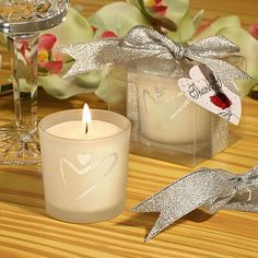 Candle Wedding Favors - Silver Heart Design