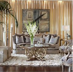 Metallic Finishes And Curvaceous Forms, As Seen In This Serafina Sofa From Marge  Carson, Are Part Of The New Glam In Home Furnishings.