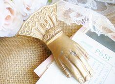 Victorian Brass Hand Letter Holder/For Home Decor/Wedding Card Holder/ Office…