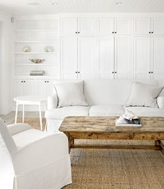 Comfy coastal-inspired, light-filled living room with built-ins | Vicky's Home