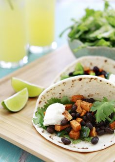 Sweet potato and black bean tacos -@Lindsay Wells you should check out this website for some ideas as well as the Lean Green Bean blog - maybe you could even email her for ideas!