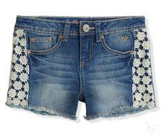 Crochet Trim Denim Shorts   Justice
