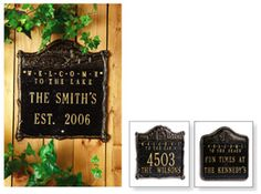 PERSONALIZED WELCOME TO THE CABIN SIGN-(HOUSE NUMBER-3 LETTERS AND NAME)