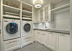 Stunning White Laundry Room Cabinets Ideas at Transitional Laundry Room with Small Tile Backsplash and Concrete Countretop White Laundry Rooms, Mudroom Laundry Room, Laundry Room Remodel, Laundry Room Cabinets, Laundry Room Organization, Small Laundry, Laundry Room Design, White Rooms, Organization Ideas