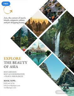Free Travel Company Flyer Template - Give people a reason to explore the world with this eye-catching flyer. This template is free to do - Poster Design Layout, Graphic Design Brochure, Flyer Layout, Graphic Design Posters, Graphic Design Inspiration, Poster Designs, Graphisches Design, Game Design, Flyer Design