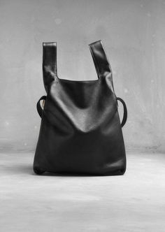 Black Leather Shopper - chic minimal bag // & Other Stories