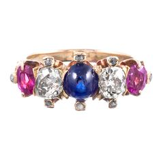 """Victorian """"Americana"""" Gemstone Ring   From a unique collection of vintage cluster rings at http://www.1stdibs.com/jewelry/rings/cluster-rings/"""