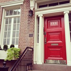 Red door with columns, lovely:.