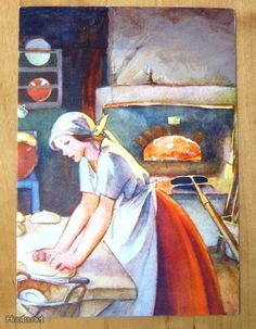 Martta Wendelin: Makes me hungry! Vintage Books, Vintage Art, Girl Face Drawing, Vintage Housewife, Great Paintings, Love Illustration, Classic Literature, Christmas Art, Lovers Art