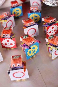 Cute party favor idea at a Robot themed birthday party via Kara's Party Ideas KarasPartyIdeas.com #robot #robotparty #karaspartyideas #partyfavor