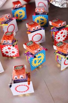 Cute party favor idea at a Robot themed birthday party via Kara's Party Ideas KarasPartyIdeas.com #robot #robotparty #karaspartyideas #partyfavor