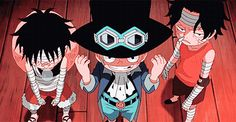 Luffy, Sabo, Ace, brothers, young, childhood, cute, bandages, funny, sleeping, picking nose, gif; One Piece