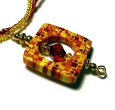 45 OFF Pendant Necklace Polymer Clay Handmade by SweetchildJewelry, $18.00. Two strand seed bead necklace in yellow and red sets off this simple pendant with Swarovski crystals in the center. Retro cane.