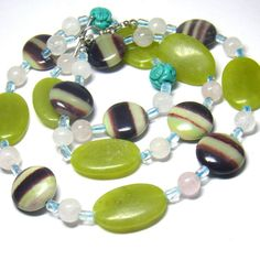 Carved Turquoise, Mint Jade, Blue Topaz, Rose Quartz, Serpentine, Silver Necklace