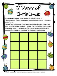Christmas FREEBIE Math Games - Christmas Math Games by Games 4 Learning contains 2 printable Christmas Math Board Games