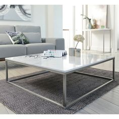 Click to zoom - Marble square coffee table white
