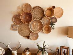 Vintage Basket Wall Bohemian Home Decor Boho Folk Mod Mid Straw Art, Vintage Baskets, Hippie Gypsy, Baskets On Wall, Basket Weaving, Boho Decor, Wicker, Wall Decor, Air Plants