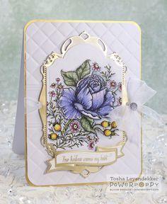 Rose & Chamomile digital stamp set by Power Poppy, card design  by Tosha Leyendekker.