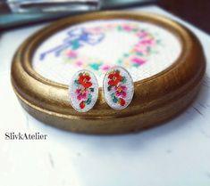Dainty silver earrings Ag 925, Oval earrings, Embroidered earrings, Floral earrings, Dainty studs, Petit point earrings, Oval studs by SlivkAtelier on Etsy