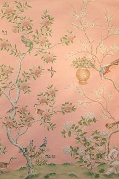 Scenic floral hand-painted Chinese paper from Gracie Studio in warm pink. Hand Painted Wallpaper, Hand Painted Walls, Fabric Wallpaper, Gracie Wallpaper, Hampton Garden, Chinese Wallpaper, Summer Hill, Chinoiserie Wallpaper, Vintage Pictures