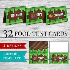 Printable Minecraft Food Labels perfect for your Minecraft Party! 32 food items included in these Printable Minecraft Food Tent Cards PLUS Editable PDF to add your own items!