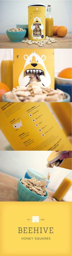 Beehive Honey Squares, Unique Breakfast Cereal Packaging Designs #packaging #packagingdesign #cereal