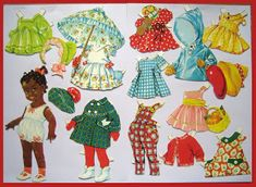 Small beautiful brown girl paper doll designed by Ulla Pihl - Ingrid Dressing Dolls - black / African / person of color