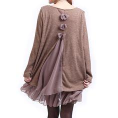Casual Scoop Neck Long Sleeve Spliced Loose-Fitting Women's Dress