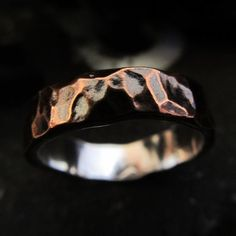 Mens textured copper silver rustic steampunk industrial hammered wedding band gift  ring  design 04