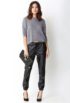 Forever 21 Ultra Chic Faux Leather Joggers in Black - Lyst - joggers are the perfect style Silk Joggers, Leather Joggers, Leather Pants Outfit, Joggers Outfit, Fashion Joggers, Trousers Women, Pants For Women, Clothes For Women, Black Jogger Pants