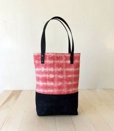 TieDye Tote Bag in Pink  Black Waxed Canvas Base  by metaphore, $79.00