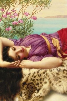 Sadness and classic art, Dolce far niente, Detail. by John William Godward. John William Godward, John William Waterhouse, Lawrence Alma Tadema, Classic Paintings, Beautiful Paintings, Pre Raphaelite Paintings, Rome Antique, Classical Art, Woman Painting