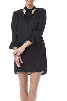 Black mini dress with 3/4 ruffled sleeves v-neckline and an attached neck tie.  Ruffle Sleeve Dress by English Factory. Clothing - Dresses - LBD New York City