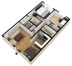 plantas de casas com 2 quartos com cozinha americana 3d 5 projeto casa em 2019 plantas de. Black Bedroom Furniture Sets. Home Design Ideas