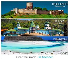 Meet the world in Greece (Highlands = Platamonas, Russia = Athos, Maldives = BaLos Crete) Places Around The World, Travel Around The World, Around The Worlds, Places In Greece, Greek Beauty, Crete Island, Paradise On Earth, Life Is A Journey, Thessaloniki