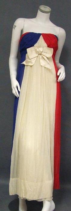 Sarmi Red, White & Blue Gathered Chiffon Strapless Goddess Gown - Vintageous, LLC