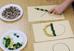 letters with small items, fine motor, creative learning.