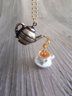 Earl Grey Tea Jewelry Necklace, English Rose Tea, Teapot Gold Jewelry, Rose Tea Cup, Gift for Her
