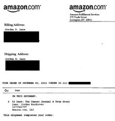 Here is a receipt of 52 Days:The Cancer Journal. It is kinda cool to buy your own book. Now go get yous from amazon.com  :) Cancer Journal, Fulfillment Services, True Stories, Love Her, First Love, Amazon, Book, Amazons, First Crush