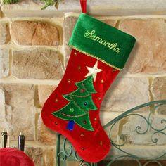 Christmas Tree Embroidered Stocking | Christmas Stocking | Personalized Christmas Stocking