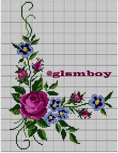 This Pin was discovered by Ayş Butterfly Cross Stitch, Beaded Cross Stitch, Cross Stitch Borders, Cross Stitch Rose, Cross Stitch Flowers, Cross Stitch Charts, Cross Stitch Designs, Cross Stitching, Cross Stitch Embroidery