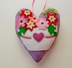 Flower Felt Heart Ornament / Bowl of Flowers / by heartfeltwhimsy