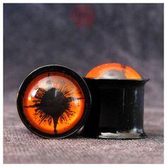 2g Orange Eyes Ear Plugs gauged ears hand painted
